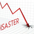 Disaster chart, crisis and down arrow